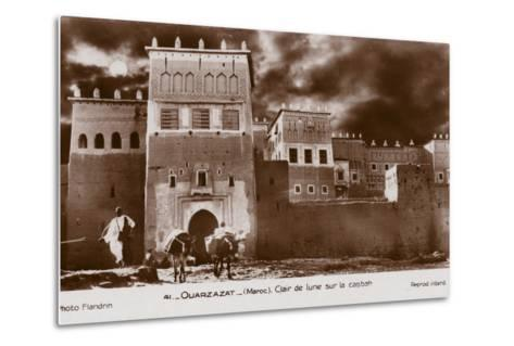 Ouarzazate - Morocco - Moonlight on the Kasbah--Metal Print