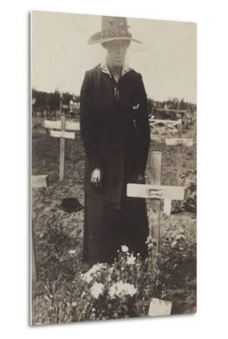 Woman Visiting the Grave of a Soldier Killed in the First World War--Metal Print