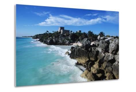 Mexico, Yucatan Peninsula, Carribean Sea at Tulum, the Only Mayan Ruin by Sea-Chris Cheadle-Metal Print