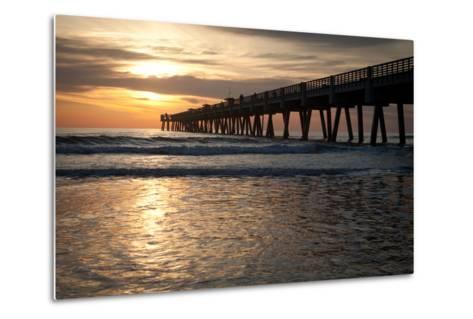Jacksonville Beach, Florida Fishing Pier in Early Morning.-RobWilson-Metal Print