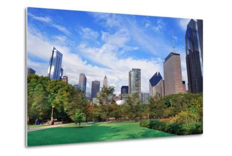 Chicago City Downtown Urban Skyline with Skyscrapers and Cloudy Blue Sky over Park.-Songquan Deng-Metal Print