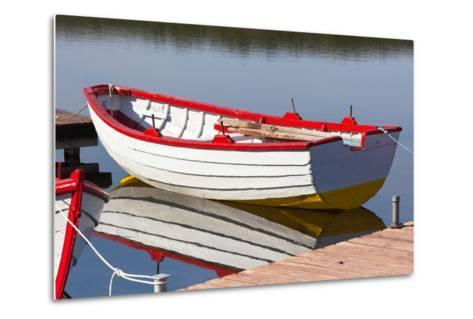 Floating Wooden Boat with Reflection-topdeq-Metal Print