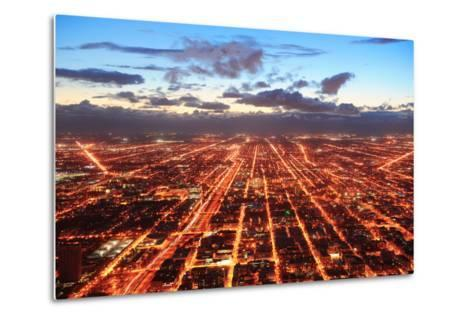 Chicago Downtown Aerial Panorama View at Dusk with Skyscrapers and City Skyline.-Songquan Deng-Metal Print
