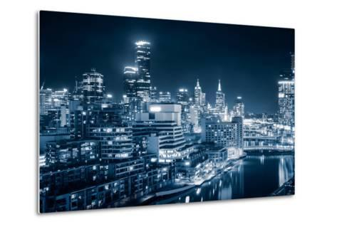 The Beautiful City of Melbourne at Night-kwest19-Metal Print