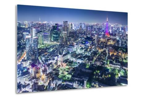 Tokyo, Japan City Skyline with Tokyo Tower and Tokyo Skytree in the Distance.-SeanPavonePhoto-Metal Print