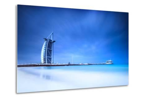 Burj Al Arab Hotel on Jumeirah Beach in Dubai, Modern Architecture, Luxury Beach Resort, Summer Vac-Anna Omelchenko-Metal Print