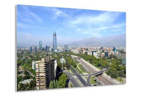 Skyline of Downtown Santiago, the Capital of Chile, Featuring 300-Meter High Gran Torre Santiago, T-1photo-Metal Print