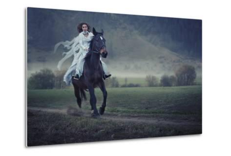 Sensual Young Beauty Riding a Horse-conrado-Metal Print