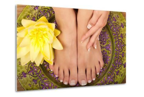 Pedicure and Manicure Spa with Beautiful Flowers-BVDC-Metal Print