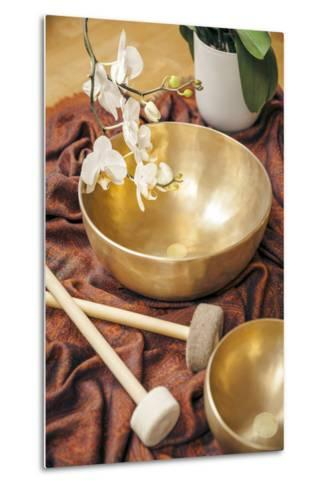 An Image of Some Singing Bowls and a White Orchid-magann-Metal Print