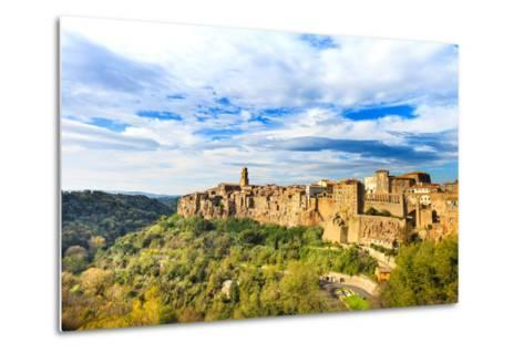 Tuscany, Pitigliano Medieval Village Panorama. Italy-stevanzz-Metal Print