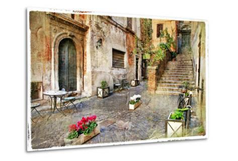 Pictorial Old Streets of Italy,Rome. Artistic Picture in Retro Style-Maugli-l-Metal Print