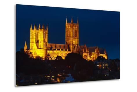 Lincoln Cathedral at Night-Stocksolutions-Metal Print
