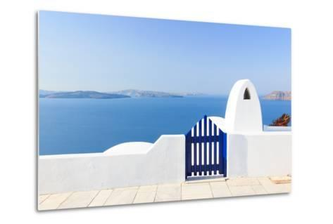 Santorini Balconny with View at the Aegean Sea-Netfalls-Metal Print