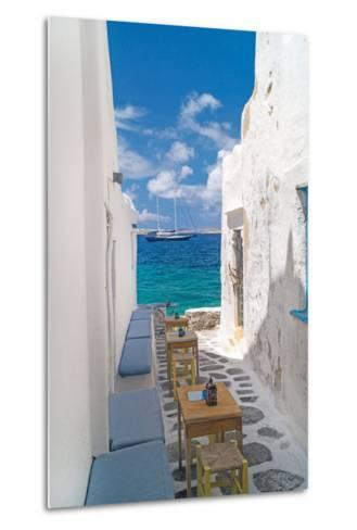 Traditional Greek Alley on Mykonos Island, Greece-papadimitriou-Metal Print