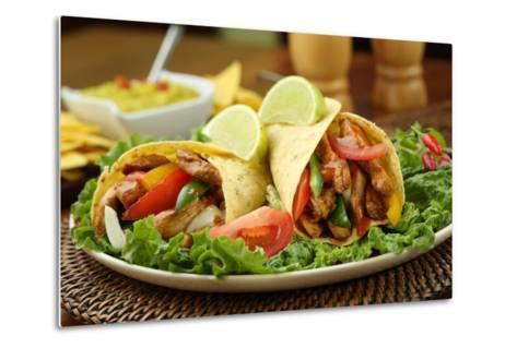 Chicken Fajita  with Guacamole and Tortillas - Dish of Mexico-FBB-Metal Print