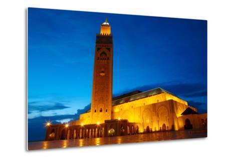 Hassan II Mosque in Casablanca, Morocco Africa-silver-john-Metal Print