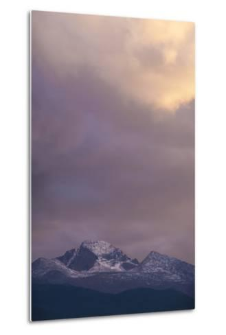 Clouds Lit by Setting Sun Above Rocky Mountains Ridge-Anna Miller-Metal Print