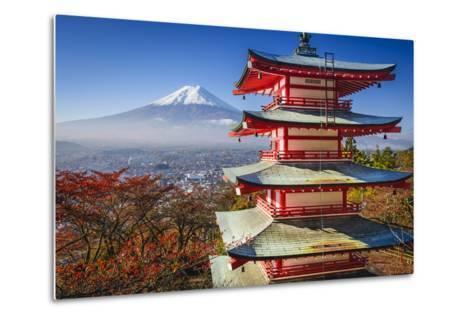 Mt. Fuji and Pagoda during the Fall Season in Japan.-SeanPavonePhoto-Metal Print