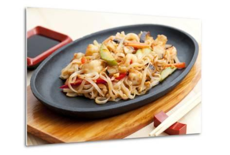 Noodles with Seafood. Japanese Cuisine-Gresei-Metal Print