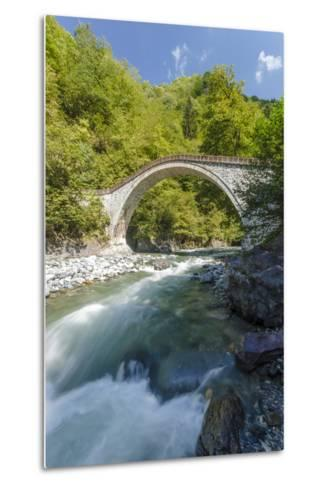 River and Stone Bridge, Rize, Black Sea Region of Turkey-Ali Kabas-Metal Print