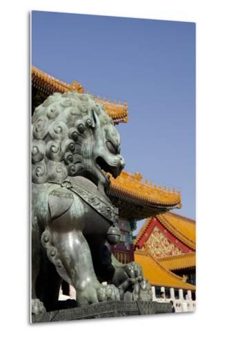 Bronze Mythological Lion Statue, Forbidden City, Beijing, China-Cindy Miller Hopkins-Metal Print