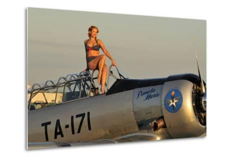 1940's Style Pin-Up Girl Sitting on the Cockpit of a World War II T-6 Texan--Metal Print