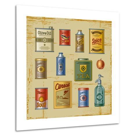 Retro Grocery Set-Oleg Iatsun-Metal Print