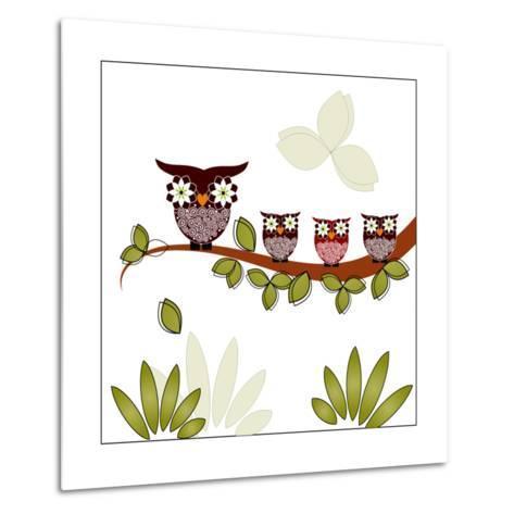 Owl On A Branch-Debra Hughes-Metal Print
