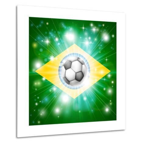Brazil Soccer Flag-Krisdog-Metal Print