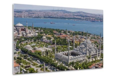 Hagia Sophia and the Blue Mosque, Aerial, Bosphorus, Istanbul, Turkey-Ali Kabas-Metal Print
