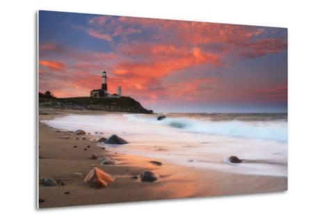 Sunset and Surf Surging onto the Beach at the Montauk Point Lighthouse-Robbie George-Metal Print