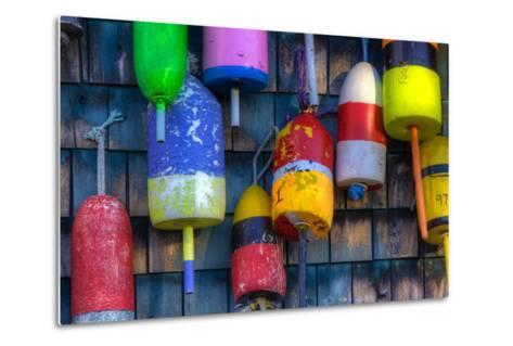 Buoys on an Old Shed at Bernard, Maine, USA-Joanne Wells-Metal Print