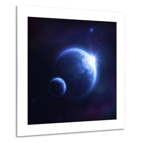 Earth and Moon in Outer Space with Rising Sun and Flying Meteorites--Metal Print