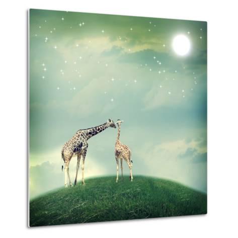 Giraffes In Friendship Or Love Concept Image-Melpomene-Metal Print