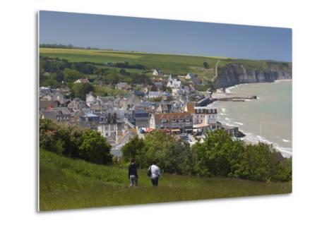 Elevated Town View, Arromanches Les Bains, Normandy, France-Walter Bibikow-Metal Print