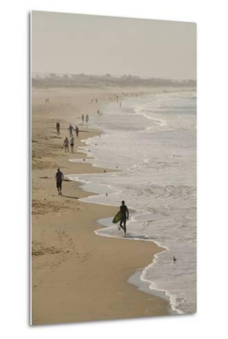 Surfer and People on Pismo State Beach, Pismo Beach, California, USA-Cindy Miller Hopkins-Metal Print