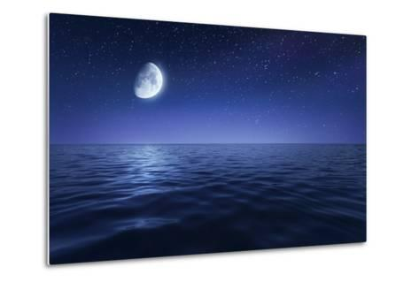 Tranquil Seas Against Rising Moon in a Starry Sky, Crete, Greece--Metal Print