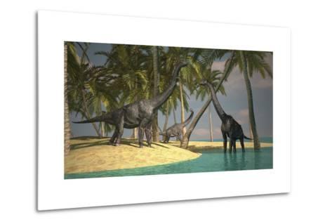 Brachiosaurus Dinosaurs Grazing at the Water's Edge--Metal Print