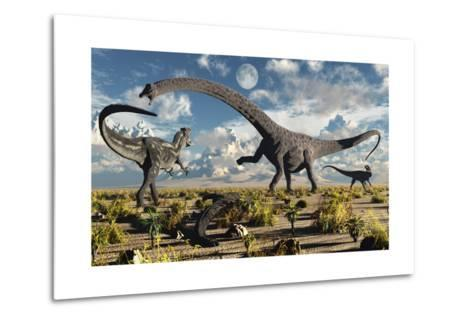 A Deadly Confrontation Between a Diplodocus and a Pair of Allosaurus--Metal Print
