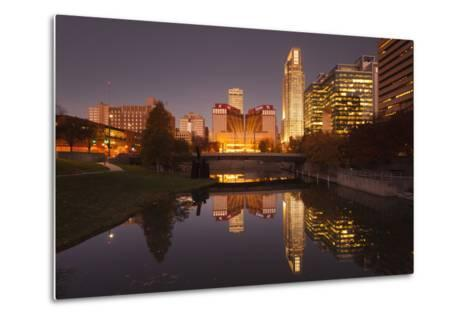 Gene Leahy Mall Skyline at Dawn, Omaha, Nebraska, USA-Walter Bibikow-Metal Print