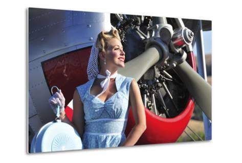 Close-Up of a 1940's Style Pin-Up Girl in Front of a Vintage F3F Biplane--Metal Print
