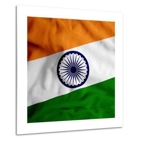 India Cloth Flag-Graphic Design Resources-Metal Print