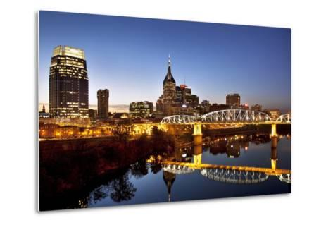Twilight over the Cumberland River and Nashville, Tennessee, USA-Brian Jannsen-Metal Print