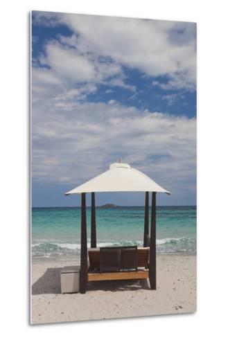 Beach Lounge Chairs, Porto Vecchio, Corsica, France-Walter Bibikow-Metal Print