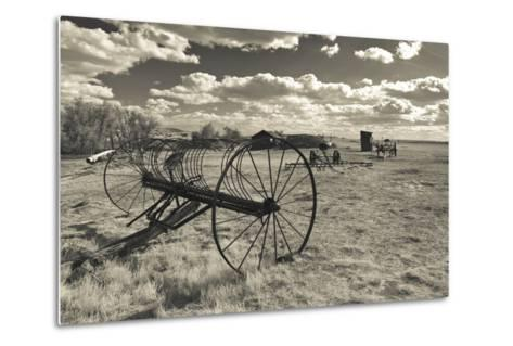 Antique Hay Raker, Prairie Homestead, Cactus Flat, South Dakota, USA-Walter Bibikow-Metal Print