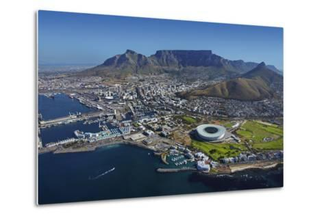 Aerial of Stadium,Waterfront, Table Mountain, Cape Town, South Africa-David Wall-Metal Print