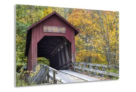 Bean Blossom Covered Bridge in Brown County, Indiana, USA-Chuck Haney-Metal Print