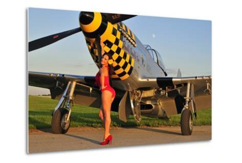 Sexy 1940's Style Pin-Up Girl Posing with a P-51 Mustang--Metal Print
