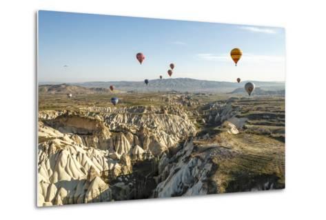 Aerial View of Hot Air Balloons, Cappadocia, Central Anatolia, Turkey-Ali Kabas-Metal Print